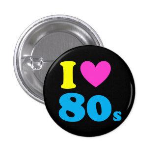 Jag älskar 80-tal mini knapp rund 3.2 cm