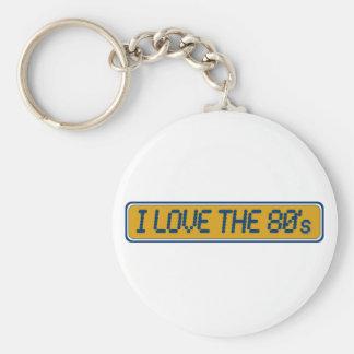 Jag älskar 80-tal rund nyckelring