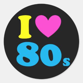 Jag älskar 80-tal runt klistermärke