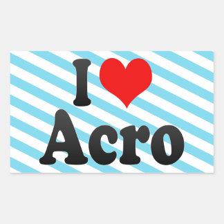 Jag älskar Acro Rektangulärt Klistermärke