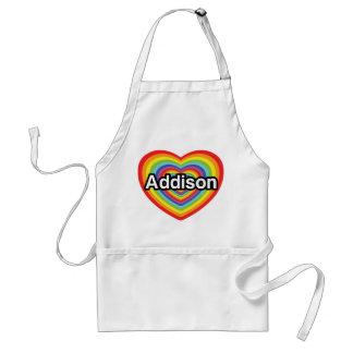 Jag älskar Addison, regnbågehjärta Förkläde