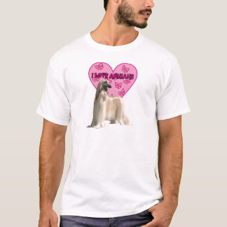 Jag älskar Afghans, den afghanska hunden, stor T Shirt