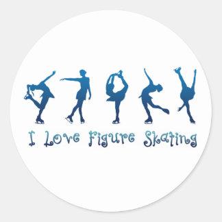 Jag älskar åka skridskor blått för figur runt klistermärke