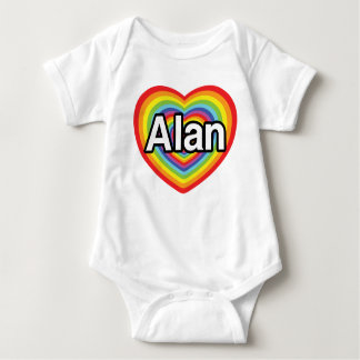 Jag älskar Alan, regnbågehjärta T Shirts