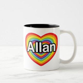 Jag älskar Allan, regnbågehjärta Två-Tonad Mugg