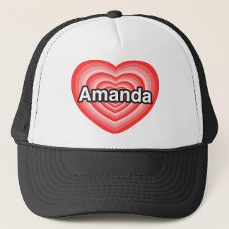 Jag älskar Amanda. Jag älskar dig Amanda. Hjärta Truckerkeps