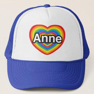 Jag älskar Anne. Jag älskar dig Anne. Hjärta Truckerkeps