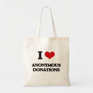 Jag älskar anonyma donationer tygkassar