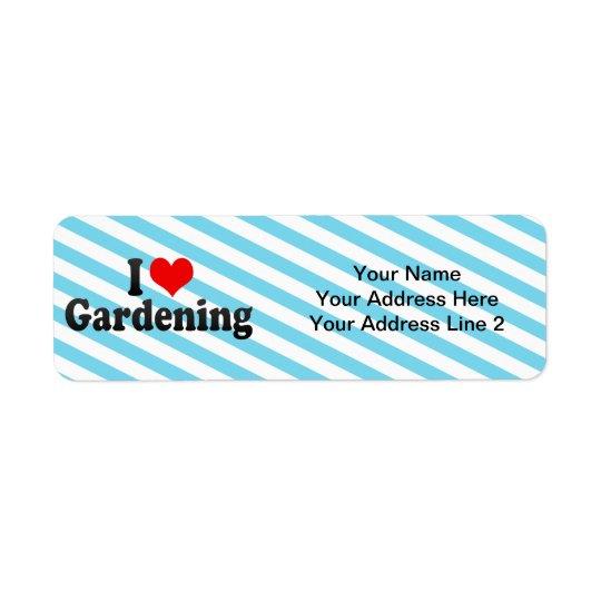 Jag älskar att arbeta i trädgården returadress etikett