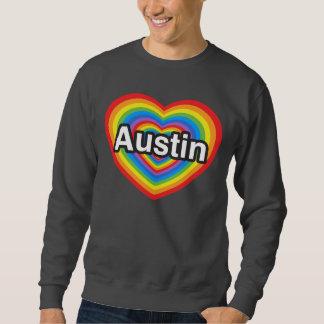 Jag älskar Austin. Jag älskar dig Austin. Hjärta Långärmad Tröja