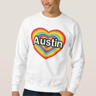 Jag älskar Austin, regnbågehjärta Sweatshirt