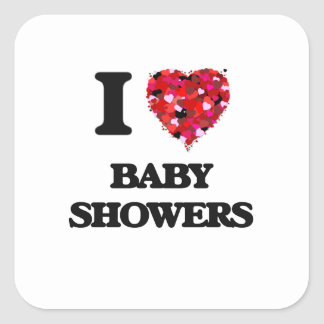 Jag älskar baby shower fyrkantigt klistermärke