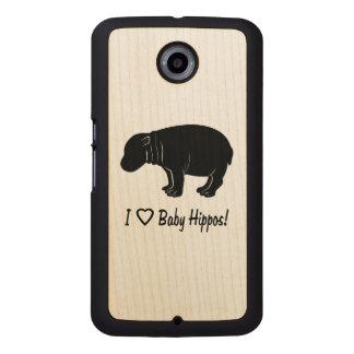 Jag älskar babyflodhästar telefonskal trä