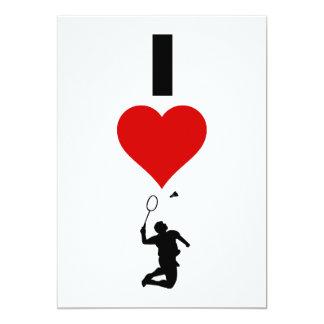 Jag älskar Badminton (lodrät) 12,7 X 17,8 Cm Inbjudningskort