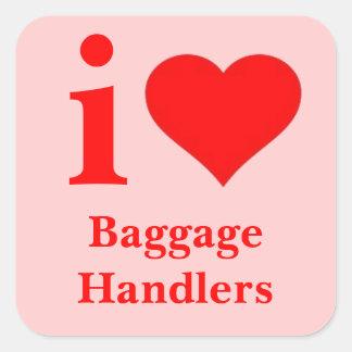 Jag älskar bagageförlagehanterare fyrkantigt klistermärke