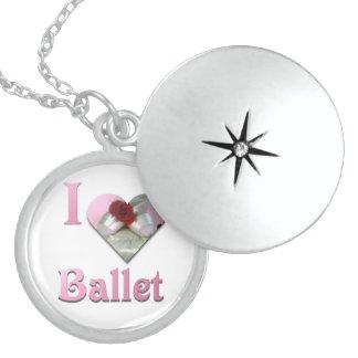 Jag älskar balett med röd ros sterling silver halsband