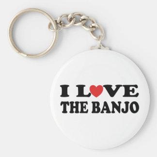 Jag älskar banjoen rund nyckelring