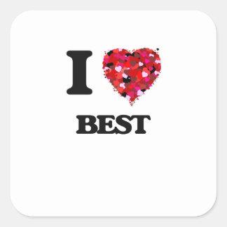Jag älskar bäst fyrkantigt klistermärke