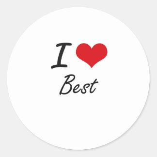 Jag älskar bäst konstnärlig design runt klistermärke