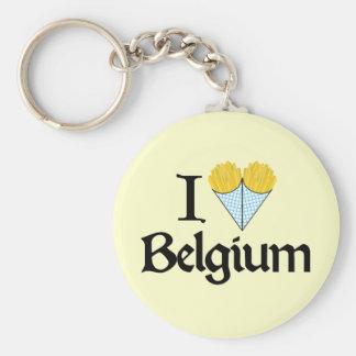 Jag älskar Belgien Rund Nyckelring