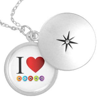 Jag älskar bingo silverpläterat halsband