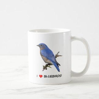 Jag älskar bluebirds (för hjärta) kaffemugg