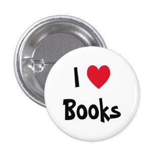 Jag älskar bokar knäppas knapp med nål