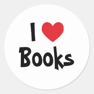 Jag älskar bokar runt klistermärke