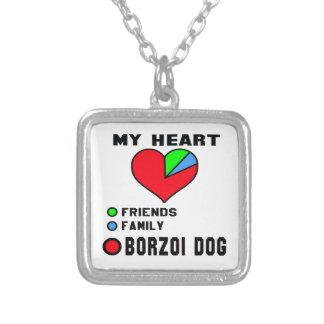 Jag älskar borzoi.en halsband med fyrkantigt hängsmycke