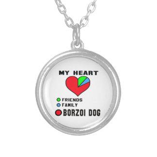 Jag älskar borzoi.en halsband med rund hängsmycke