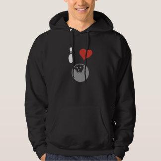 Jag älskar bowling (för hjärta) sweatshirt med luva