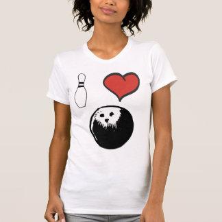 Jag älskar bowling (för hjärta) tee shirts
