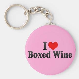 Jag älskar boxats vin rund nyckelring