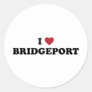 Jag älskar Bridgeport Connecticut Runt Klistermärke
