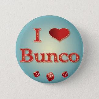 Jag älskar Bunco i rött med röd tärning Standard Knapp Rund 5.7 Cm