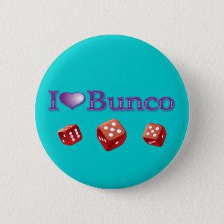Jag älskar Bunco med röd tärning Standard Knapp Rund 5.7 Cm