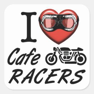 Jag älskar CafeRacers Fyrkantigt Klistermärke
