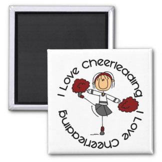 Jag älskar Cheerleading stick Magnet
