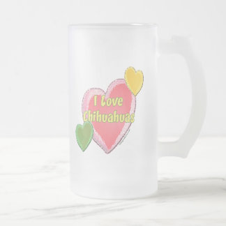 Jag älskar Chihuahuashundhjärta Frostat Ölglas