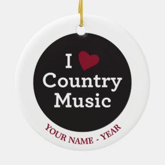 Jag älskar countrymusik rund julgransprydnad i keramik