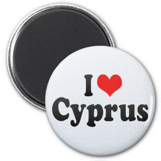 Jag älskar Cypern Magnet Rund 5.7 Cm