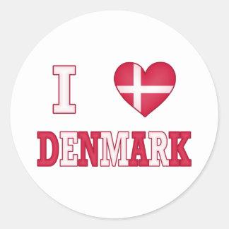 Jag älskar Danmark Rund Klistermärke