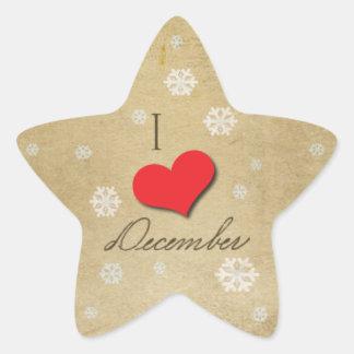 Jag älskar December Stjärnformat Klistermärke