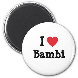Jag älskar den Bambi hjärtaT-tröja Magnet Rund 5.7 Cm