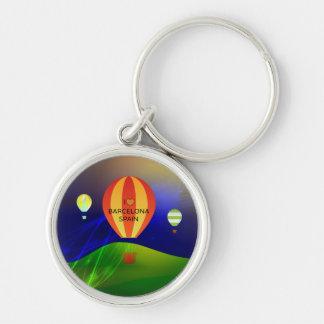 Jag älskar den Barcelona Spanien luftballongen Rund Silverfärgad Nyckelring