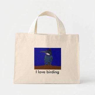 Jag älskar den Birding kingfisheren hänger lös Mini Tygkasse