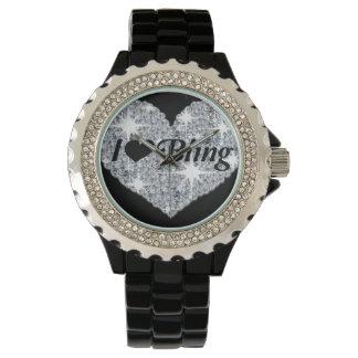 Jag älskar den bling klockan armbandsur