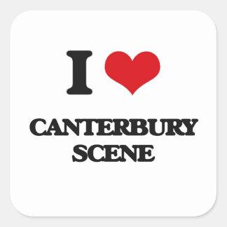 Jag älskar den CANTERBURY PLATSEN Fyrkantigt Klistermärke