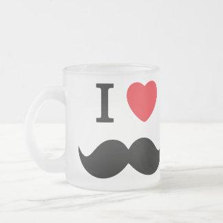 Jag älskar den frostade Glass muggen för mustasche Kaffe Mugg