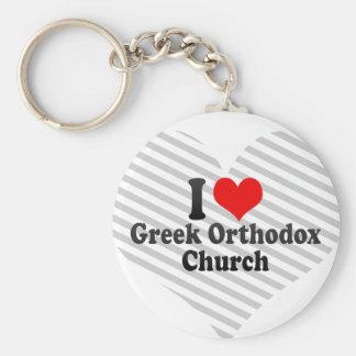 Jag älskar den grekiska ortodoxkyrkan rund nyckelring